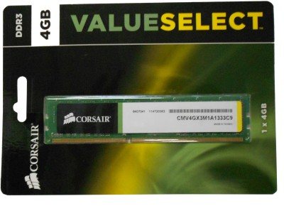 Buy Corsair DDR3 4 GB (1 x 4 GB) PC RAM (CMV4GX3M1A1333C9): RAM