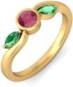 BlueStone The Flaura Trinity Gold Emerald, Ruby Ring