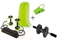 IBS Revoflex Xtreme Resistance Extreme Slimming Workout Rubber Bands With Power Strech Roller Wheel With Bodi Pro Roller And Clipholder Ab Exerciser (Green, Black)