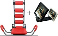 IBS Abrockettwister Rocket Twister Six Pack Abs Zone Flex Total Body Fitness Home Gym Machine Abdominal With 3d Enlarge Screen Ab Exerciser (Red)