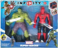 9Perfect Infinity Marvel Super Heroes Hulk Man & Spider Man With Light (Red, Green)