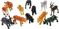 ToyTree 12 Set Wild Animals High Quality Rubber Toys For Kids (Multicolor)