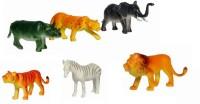 LAVIDI 6 In 1 100% Non Toxic Rubber Wild Animal Set For Kids (Multicolor)