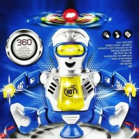 Om Dancing Robot Elf Battery Operated Toy Figure With Colorful Rotating Headlights, Music, Dancing Action (Multicolor)