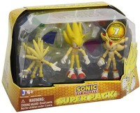 Sonic The Hedgehog Super Pack Action Figures Super Silver, Super Sonic, And Super Shadow, 3 Pack (Multicolor)