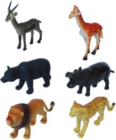 Tootpado Wild Zoo Forest Animals Plastic Toy Set - Pack Of 6 - 1c186 - Educational & Decorative For Kids (Multicolor)