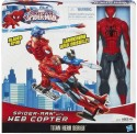 Funskool Marvel Ultimate Spiderman Titan Hero Series Spiderman Figure With Web Copter 12 Inches - Red, Blue