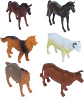 Tootpado Pet And Farming Animals Plastic Toy Set - Pack Of 6 - 1c191 - Educational & Decorative For Kids (Multicolor)