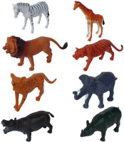 Tootpado Wild Zoo Forest Animals Plastic Toy Set - Pack Of 8 - 1c181 - Educational & Decorative For Kids (Multicolor)