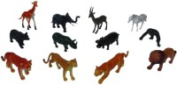 Tootpado Wild Zoo Forest Animals Plastic Toy Set - Pack Of 12 - 1c184 - Educational & Decorative For Kids (Multicolor)