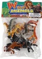 Meeras High Quality Wild Animals Solid 12 Pieces In The Jungle With Trees 10 Pc And Solider Man -Learning Toy (Black, Yellow)