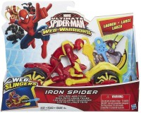 Funskool Ultimate Spiderman Web Slingers Iron Spider With Arc Web Cycle (Multicolor)