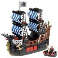 Fisher-Price Imaginext Black And Red Pirate Ship With 2 Figures (Multicolor)