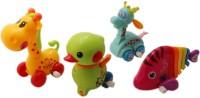 Tootpado Set Of 4 Wind Up Animal Toddlers Toy Set For Kids (2 X Giraffe + 1 Duck + Fish) - Color May Vary (Multicolor)
