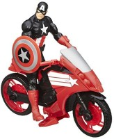Marvel Avengers Titan Hero Series Captain America 12 Inch Figure With Defender Cycle Vehicle (Multicolor)