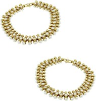 Orniza Reverse AD Payal In Pearl Color With Golden Polish Brass Anklet Pack Of 2