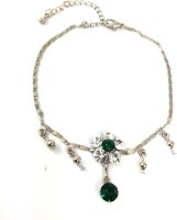 Ammvi Creations Crystal Jade And Cz G-Silver Designer Alloy Anklet