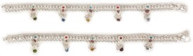 Charms Multicolor Stones Alloy Anklet