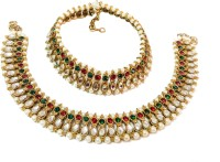 Glittering World Designer Red & Green Kundan And Pearl Alloy, Stone Anklet Pack Of 2
