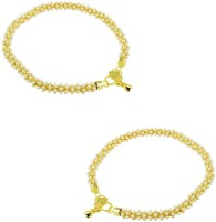 Orniza Rajwadi Payal In Pearl Color With Golden Polish Brass Anklet Pack Of 2
