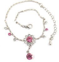 Ammvi Creations Crystal Persian Pink & Cz G-Silver Designer Alloy Anklet