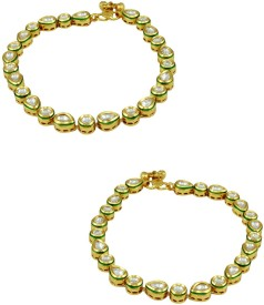 Orniza Vilandi Payal in Neutral Color with Golden Polish Brass Anklet