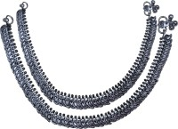 Aman Antique Oxidise Mango Bandhan Payal Silver Anklet (Pack Of 2)