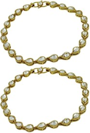 Orniza Reverse AD Payal in Neutral Color with Golden Polish Brass Anklet