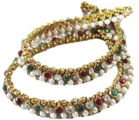 Glittering World Designer Red & Green Stone And Pearl Alloy Anklet Pack Of 2