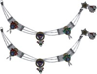Aman Multi Stone Silver Anklet Pack Of 2