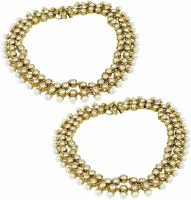 Orniza Reverse AD Payal In Neutral Color With Antique Polish Brass Anklet Pack Of 2