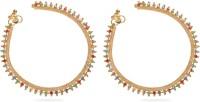Vedika Jewellery Golden Multi Color Stone Design Metal Anklet Pack Of 2