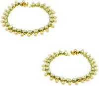 Orniza Vilandi Payal In Pearl Color With Golden Polish Brass Anklet Pack Of 2