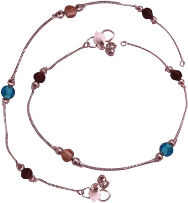Mischika Beautiful Glass Bead Glass, Metal Anklet Pack of 2