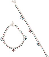 Taj Pearl Silver Plated Traditional Brass Anklet