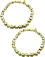 Orniza Vilandi Payal In Clear Color And Golden Polish Brass Anklet Pack Of 2