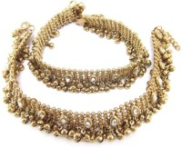Charms Antique Golden Ethnic Kundan Studded Alloy Anklet Pack Of 2