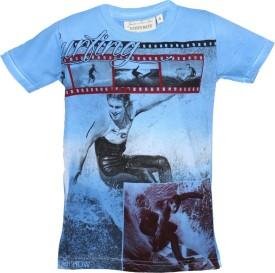Tonyboy Printed Boy's Round Neck Blue T-Shirt
