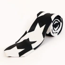 Blacksmith Black And White Houndstooth Design Geometric Print Men's Tie
