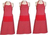 Venkateswara Export Cotton Apron Free Size Red, White, Pack Of 3