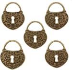Tootpado Art & Craft Toys Tootpado Heart Lock Flat Back Metal Craft & Scrapbooking Embellishments Antique Metal Charms and Pendants