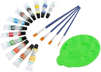 DOZEN Artist Quality 12ml Acrylic Color Tubes Set With 4 Paint Brushes & Palette Art Painting Set