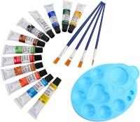 DOZEN Artist Quality 12ml Glass Color Tubes Set With 4 Paint Brushes & Palette Painting Art Set