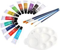 DOZEN Artist Quality 12ml Gouache Color Tubes Set With 4 Paint Brushes & Palette Painting Art Set