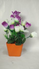 KAYKON White Assorted Artificial Flower  with Pot