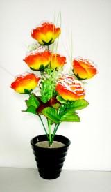KAYKON Melamine Pot Yellow Rose Artificial Flower  with Pot