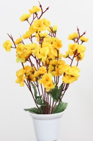 Om Potters Yellow Assorted Artificial Flower  with Pot
