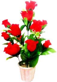 Kaykon Red Rose Artificial Flower  with Pot