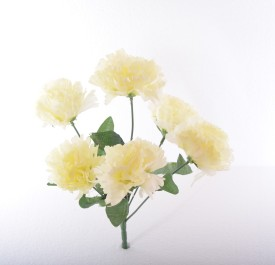Kusal Carnation 6 Head White Assorted Artificial Flower