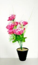 KAYKON Melamine Pot Pink Rose Artificial Flower  with Pot